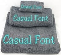 Personalised Embroidered Warm Grey Towel set.  Choice of Bale size.  With any Name .